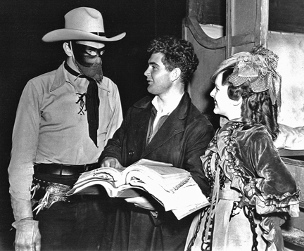 Between scenes of THE LONE RANGER: Brix, behind the mask, with co-director Bill Witney and leading lady Lynn Roberts.