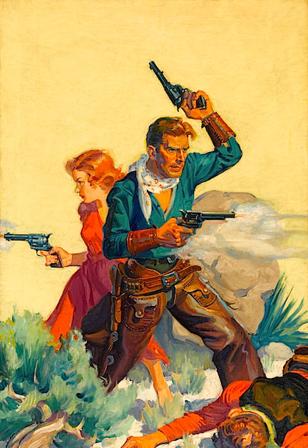 The 1934 DIME WESTERN cover painting Steve promised to hold for me.